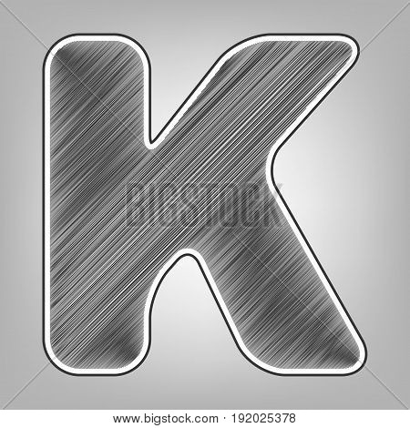 Letter K sign design template element. Vector. Pencil sketch imitation. Dark gray scribble icon with dark gray outer contour at gray background.