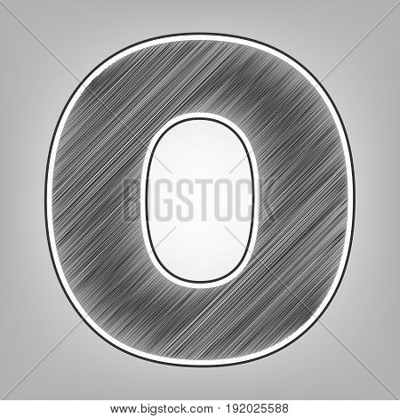 Letter O sign design template element. Vector. Pencil sketch imitation. Dark gray scribble icon with dark gray outer contour at gray background.