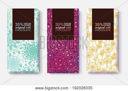 Vector Set Of Chocolate Bar Package Designs With Modern Pastel Floral Patterns. Rectangle frame. Editable Packaging Template Collection. Packaging and Surface pattern design.