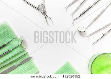 dentist office with medical tools for teeth care on white background top view mock up