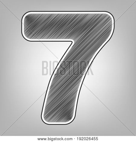 Number 7 sign design template element. Vector. Pencil sketch imitation. Dark gray scribble icon with dark gray outer contour at gray background.