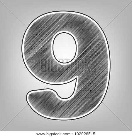 Number 9 sign design template element. Vector. Pencil sketch imitation. Dark gray scribble icon with dark gray outer contour at gray background.