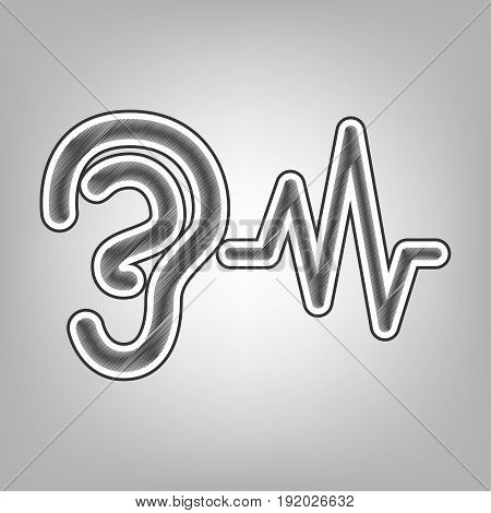 Ear hearing sound sign. Vector. Pencil sketch imitation. Dark gray scribble icon with dark gray outer contour at gray background.
