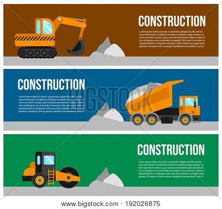 Construction machine web banner concept. transport machinery vehicles banners design.