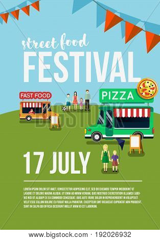 Food truck festival event flyer, street food poster. Food market Vector illustration.