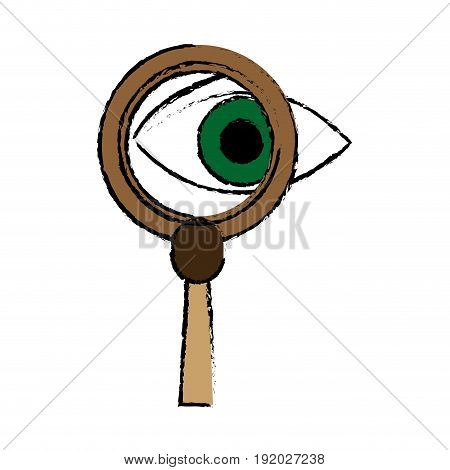 eye magnifying glass analysis business element icon vector illustration