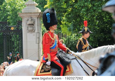 Trooping the colour London UK - June 17 2017; Prince William Prince charles and Princess Anne in Trooping the colour parade on horse back in uniform