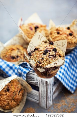 Fresh homemade delicious blueberry streusel muffins on tray