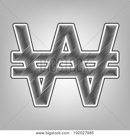 Won sign. Vector. Pencil sketch imitation. Dark gray scribble icon with dark gray outer contour at gray background.
