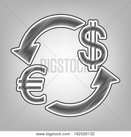 Currency exchange sign. Euro and Dollar. Vector. Pencil sketch imitation. Dark gray scribble icon with dark gray outer contour at gray background.