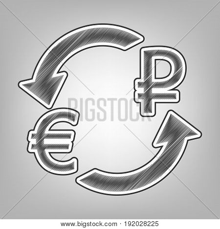 Currency exchange sign. Euro and Russia Ruble. Vector. Pencil sketch imitation. Dark gray scribble icon with dark gray outer contour at gray background.