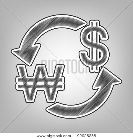 Currency exchange sign. South Korea Won and US Dollar. Vector. Pencil sketch imitation. Dark gray scribble icon with dark gray outer contour at gray background.