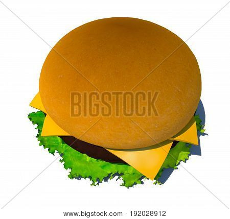 The perfect hamburger 3D render isolated on white background