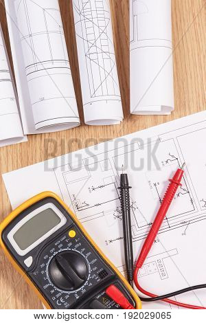 Electrical Diagrams Or Drawings And Multimeter For Measurement In Electrical Installation