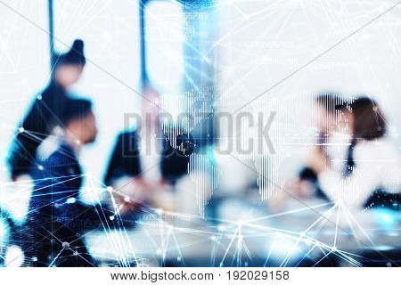 Blurred background with with futuristic effect of business people during a meeting
