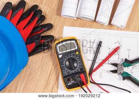 Electrical Drawings, Multimeter For Measurement In Electrical Installation And Accessories For Engin