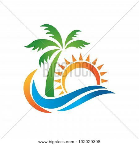 Logo of travel agency isolated on white background. A symbol of vacation, travel and recreation in warm countries. Logo with palm trees, island, sea and sun, taking off plane