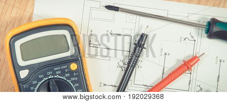 Electrical Drawings, Multimeter For Measurement In Electrical Installation And Screwdriver For Use I