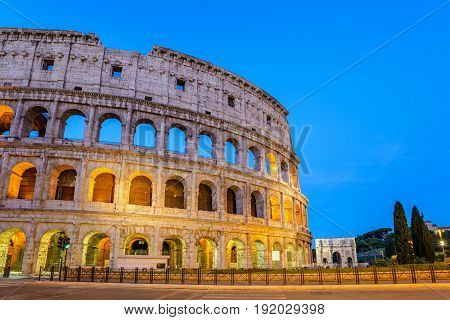 Rome Colosseum (roma Coliseum) At Night, Rome, Italy