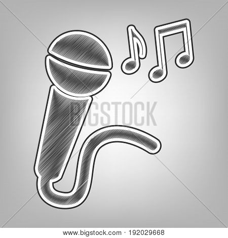 Microphone sign with music notes. Vector. Pencil sketch imitation. Dark gray scribble icon with dark gray outer contour at gray background.