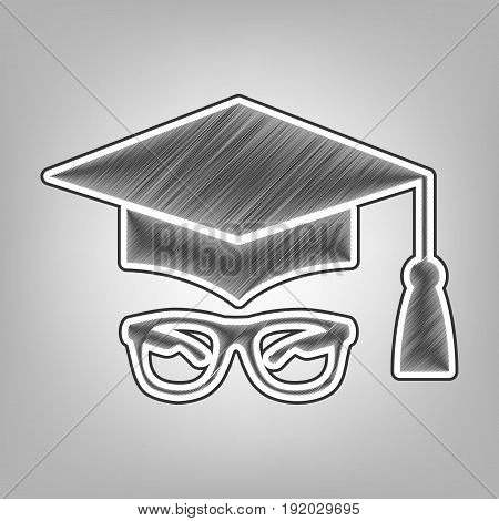 Mortar Board or Graduation Cap with glass. Vector. Pencil sketch imitation. Dark gray scribble icon with dark gray outer contour at gray background.