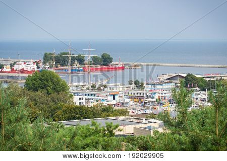 Gdynia, Poland - August 20, 2016: View On Seaport In Polish Town Gdynia