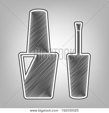 Nail polish sign. Vector. Pencil sketch imitation. Dark gray scribble icon with dark gray outer contour at gray background.