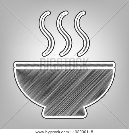 Soup sign. Vector. Pencil sketch imitation. Dark gray scribble icon with dark gray outer contour at gray background.