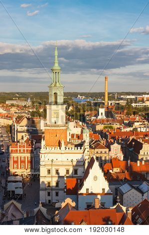 Poznan, Poland - August 30, 2016: Town Hall, Old And Modern Buildings At Sunset In Poznan
