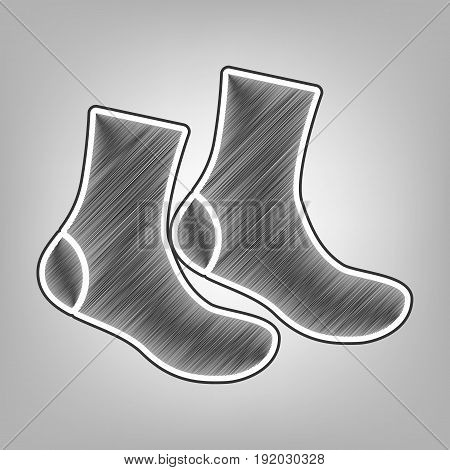 Socks sign. Vector. Pencil sketch imitation. Dark gray scribble icon with dark gray outer contour at gray background.