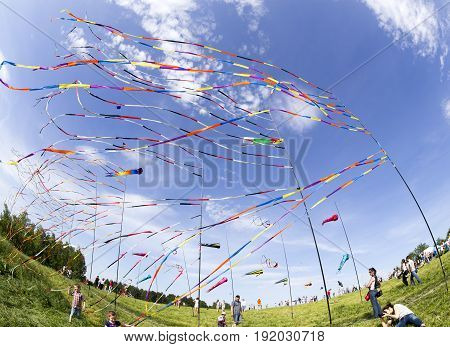 Moscow, Russia - Jun 1: Fluttering In The Wind Colorful Ribbons And Colorful Kites At The Festival O