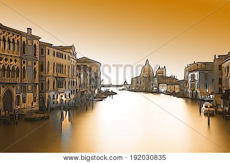 Venice: View from Ponte Accademia to the church Santa Maria della Salute