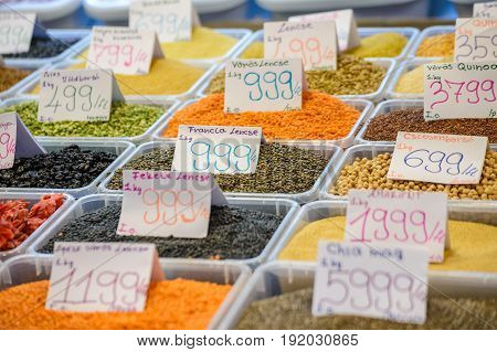 BUDAPEST HUNGARY: JUNE 262015: Seed product of fruit and vegetable in Central Market Hall Budapest Hungary