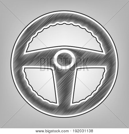 Car driver sign. Vector. Pencil sketch imitation. Dark gray scribble icon with dark gray outer contour at gray background.