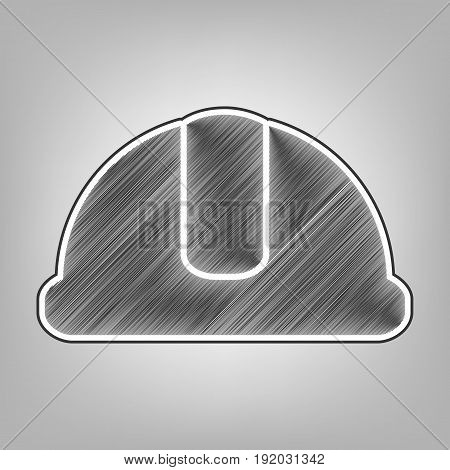 Hardhat sign. Vector. Pencil sketch imitation. Dark gray scribble icon with dark gray outer contour at gray background.