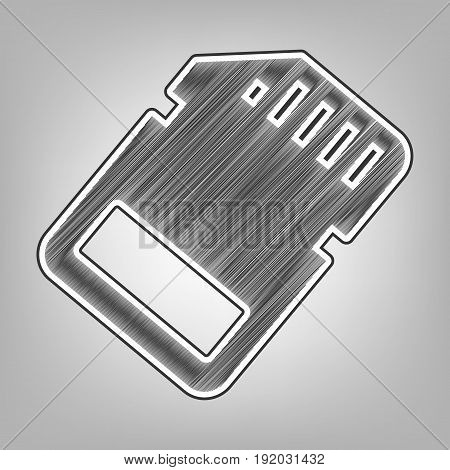 Memory card sign. Vector. Pencil sketch imitation. Dark gray scribble icon with dark gray outer contour at gray background.