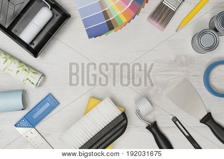 Banner Image Of Home Improvement Painting Tools With Copy Space
