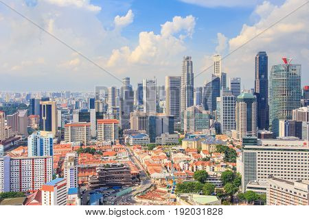 Top views skyline business building and financial district in sunshine day at Singapore City Singapore