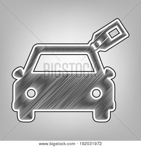 Car sign with tag. Vector. Pencil sketch imitation. Dark gray scribble icon with dark gray outer contour at gray background.