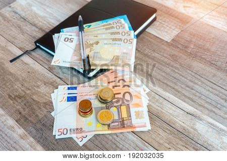 Money euro coins and banknotes money concept