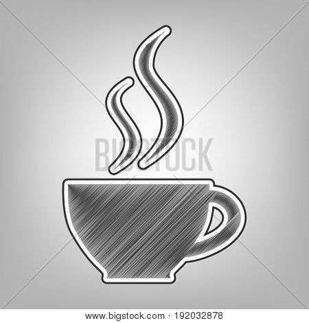 Cup sign with two small streams of smoke. Vector. Pencil sketch imitation. Dark gray scribble icon with dark gray outer contour at gray background.