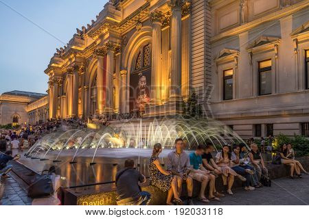New York NY USA - June 13 2017. Metropolitan Museum of Art at the night of Museum Mile Festival
