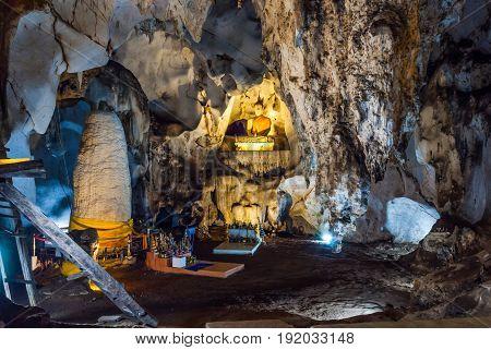 Buddha Statue in Beautiful Natural Cave .