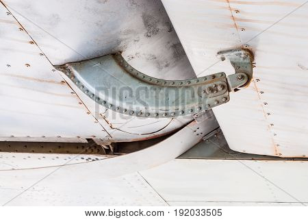 Closeup to Airplane Aileron Control Horn .