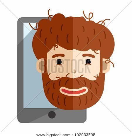 Vector Cartoon Untidy Fuzzy Bearded Man with Smartphone