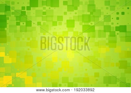 Green yellow shades vector abstract glowing background with random sizes rounded corners tiles