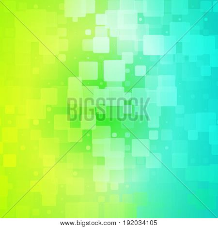 Yellow teal blue green shades vector abstract glowing background with random sizes rounded tiles square