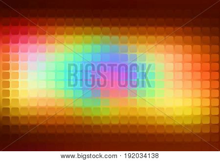 Red pink green blue brown vector abstract rounded corners square tiles mosaic over blurred background
