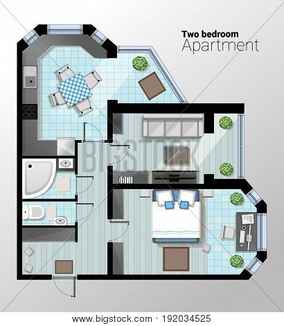Vector top view illustration of modern one bedroom apartment. Detailed architectural plan of dining room combined with kitchen, bathroom, bedroom. Home interior with comfortable furniture.