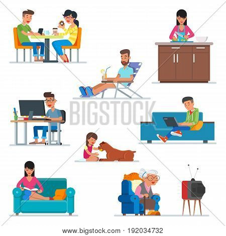 Vector set of cartoon people characters in flat style design. Couple in cafe, woman cooking at the kitchen, guy working with computer, girl playing with a dog. People icons isolated on white